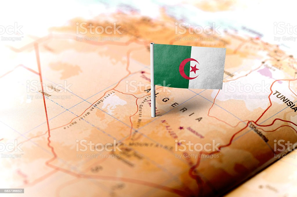 Algeria pinned on the map with flag - Photo