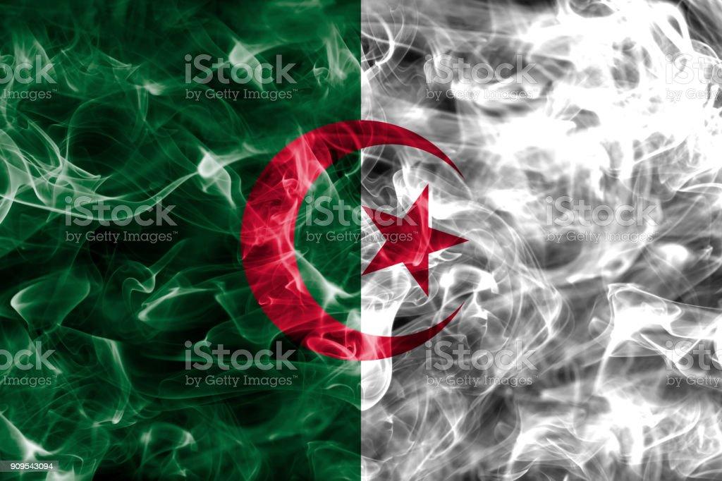 Algeria smoke flag stock photo