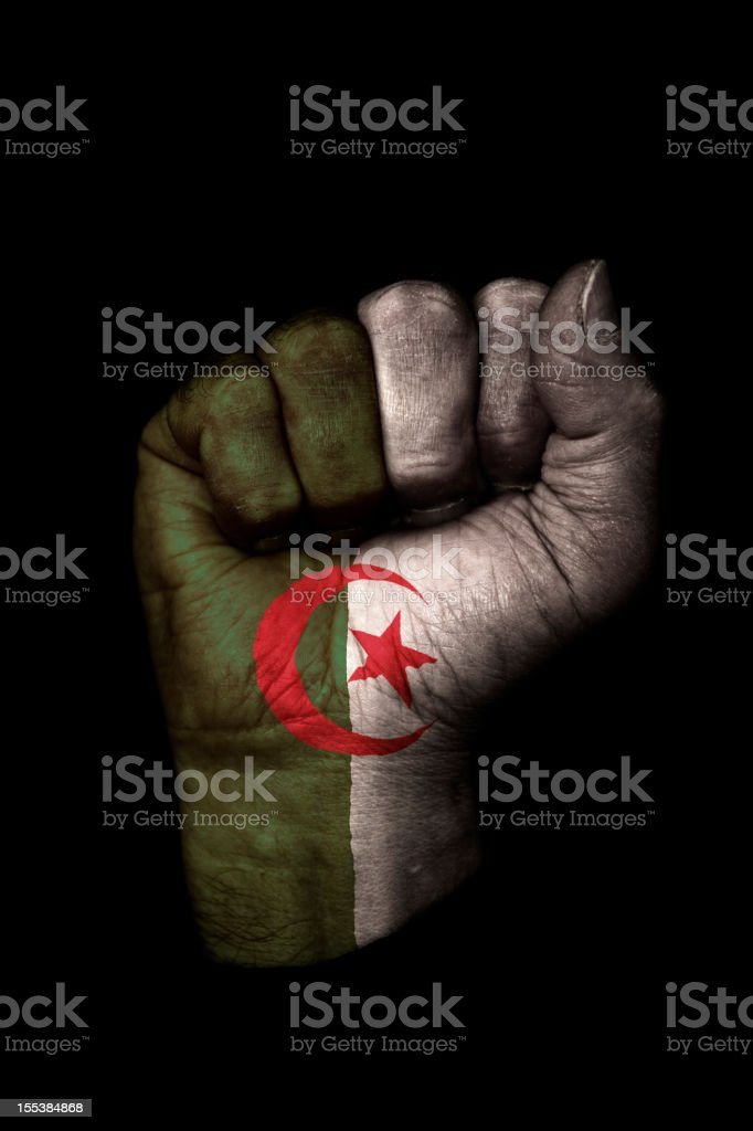 Puño bandera argelina - foto de stock