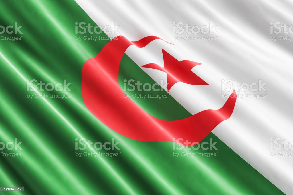 Fondo de la bandera argelina, 3D rendering - foto de stock