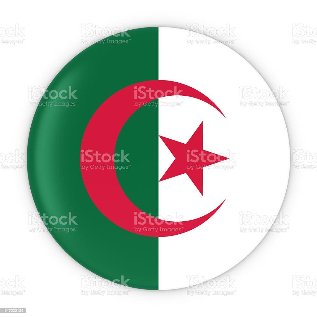 Algerian Flag Button - Flag of Algeria Badge 3D Illustration - foto de stock