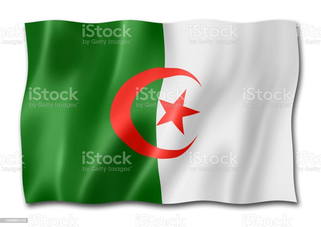 Bandera Argelia aislado en blanco - foto de stock