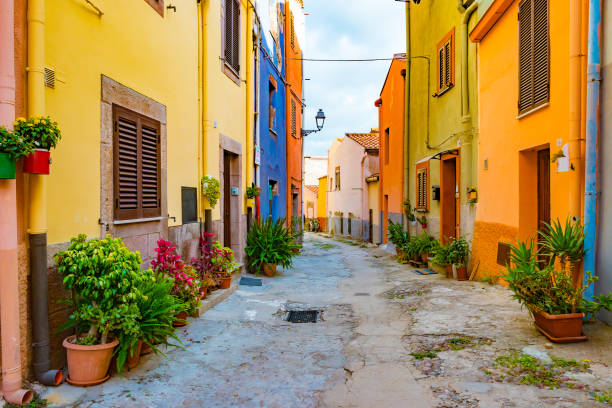 Alghero old town, Italy stock photo