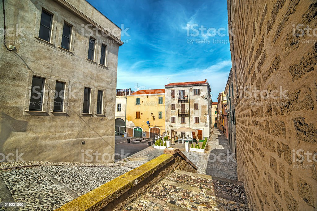 Alghero old town on a clear day stock photo