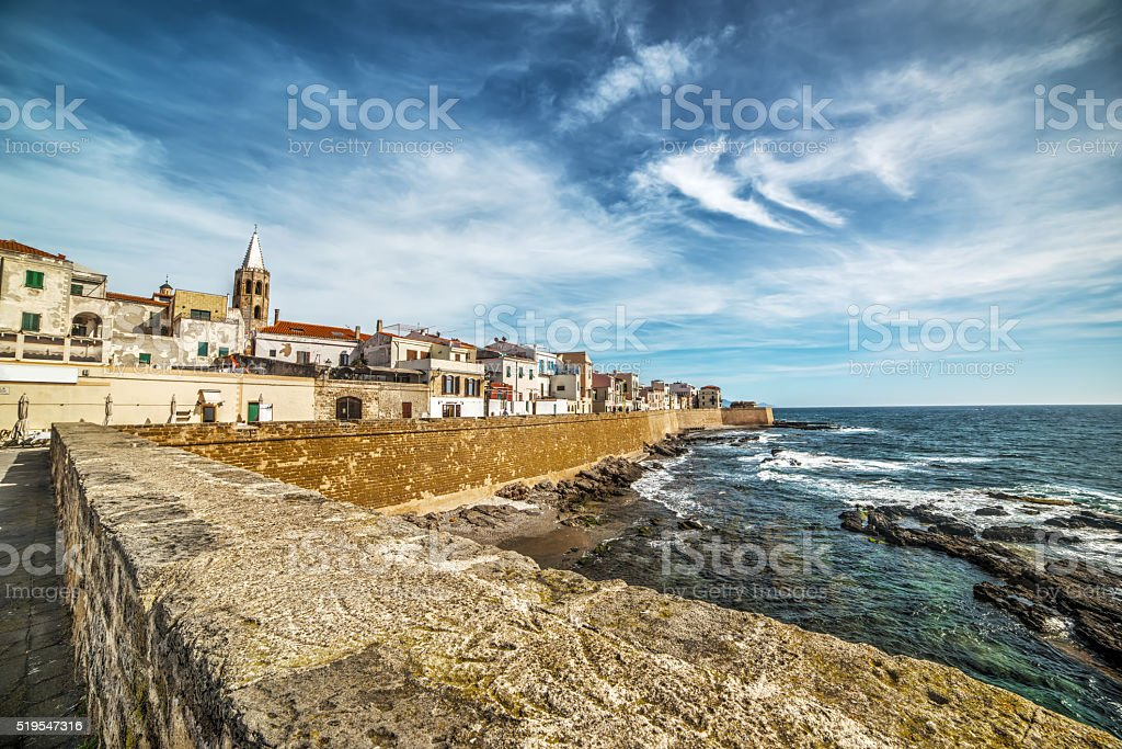 Alghero promenade on a cloudy spring day stock photo