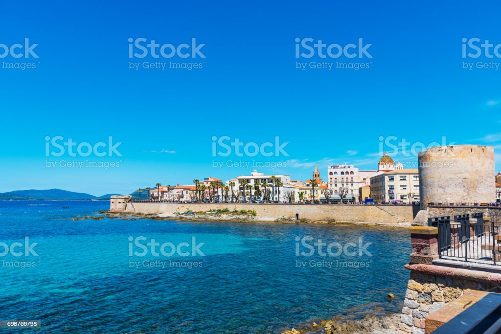 Alghero seafront in springtime stock photo