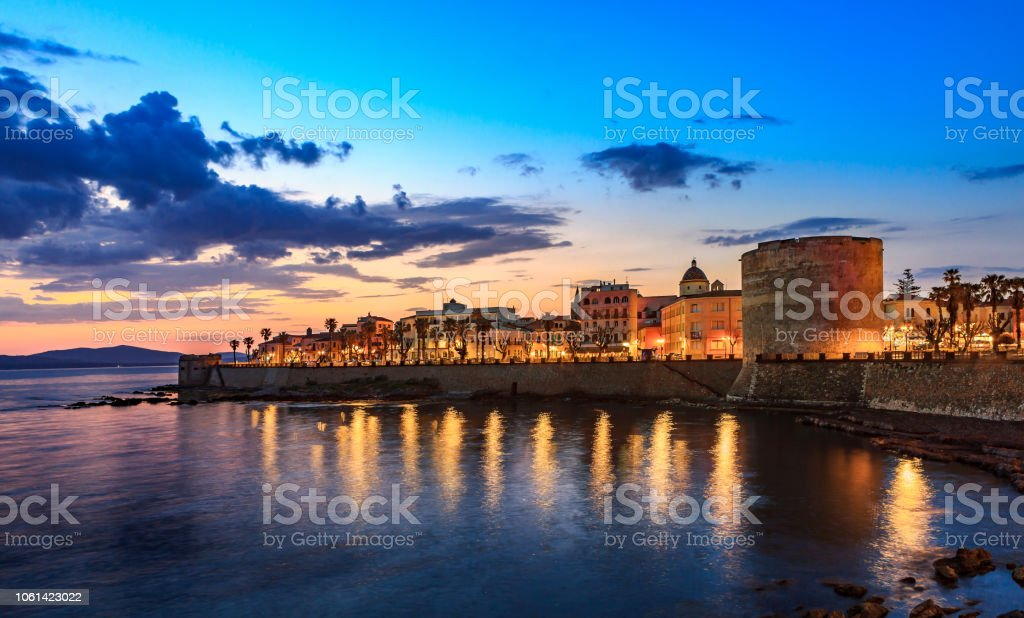 Alghero, Tower of Sulis by Night stock photo