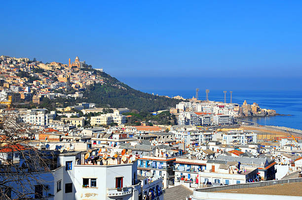 algiers, algeria: the city and the mideterranean sea - algeria stock photos and pictures