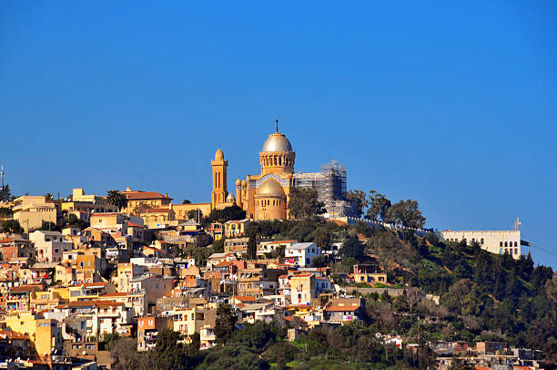 algiers: our lady of africa basilica, hill above bologhine area - algeria stock photos and pictures