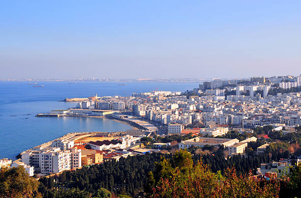 algiers seen from notre dame d'afrique cathedral - algeria stock photos and pictures