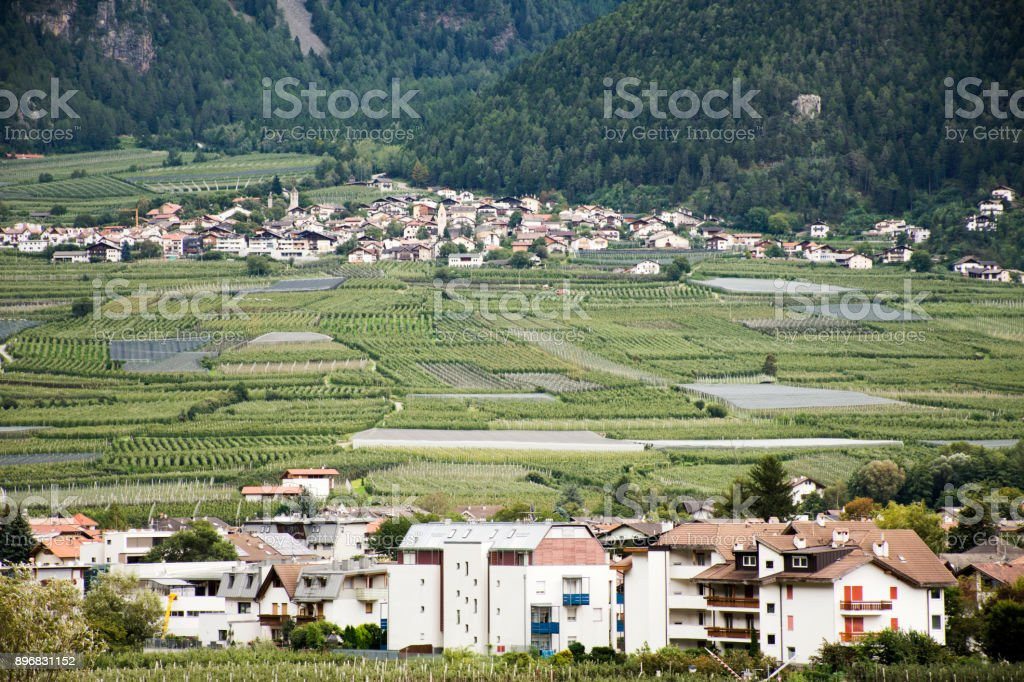 Algund village at Otztal Valley in Tirol, Italy stock photo
