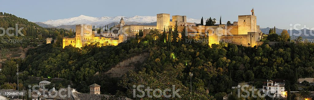 Alhambra and Sierra Nevada in happy hour royalty-free stock photo