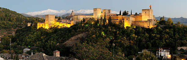 Alhambra and Sierra Nevada in happy hour  palace of charles v stock pictures, royalty-free photos & images