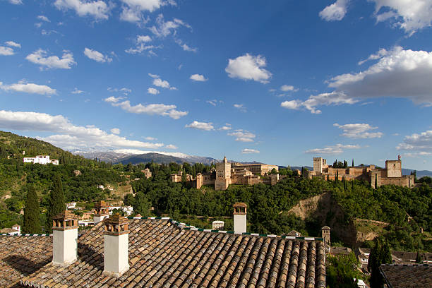 Alhambra and Sierra Nevada It is one of the 7 world wonders. In the background you can see the Sierra Nevada covered with snow in late May. palace of charles v stock pictures, royalty-free photos & images