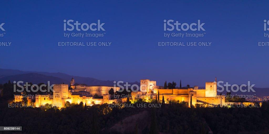 Alhambra at night stock photo