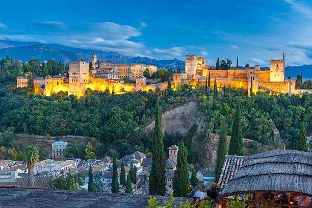 alhambra at sunset in granada, andalusia, spain - スペイン グラナダ ストックフォトと画像