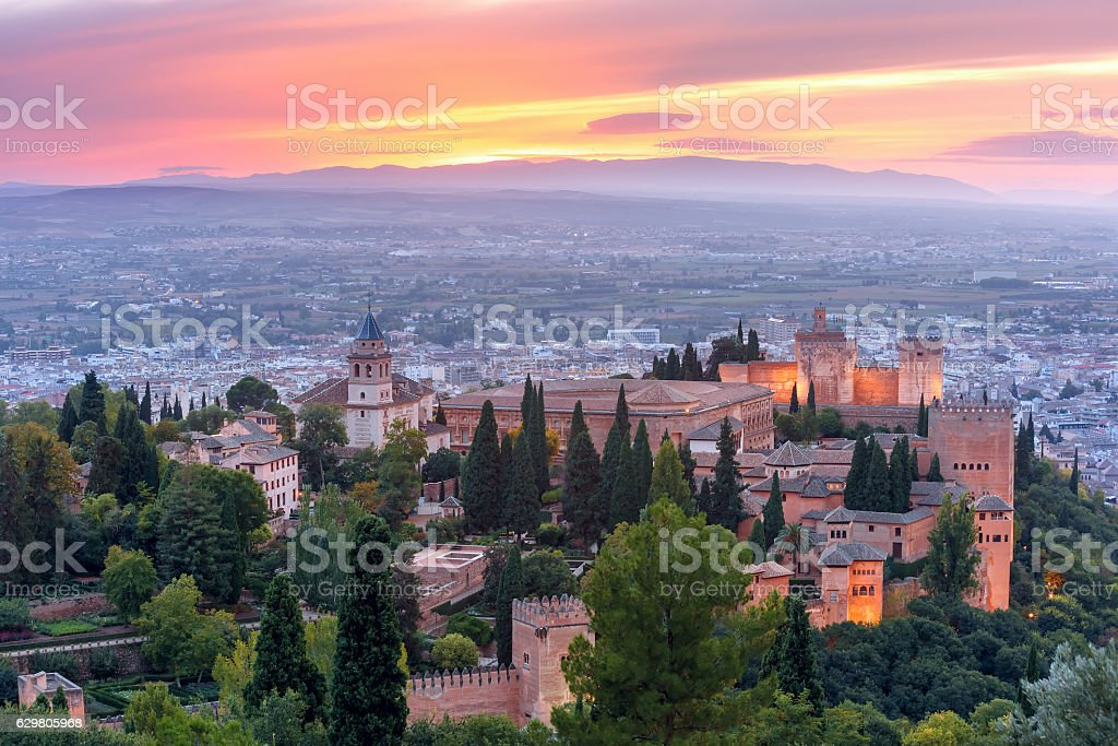 Alhambra at sunset in Granada, Andalusia, Spain stock photo