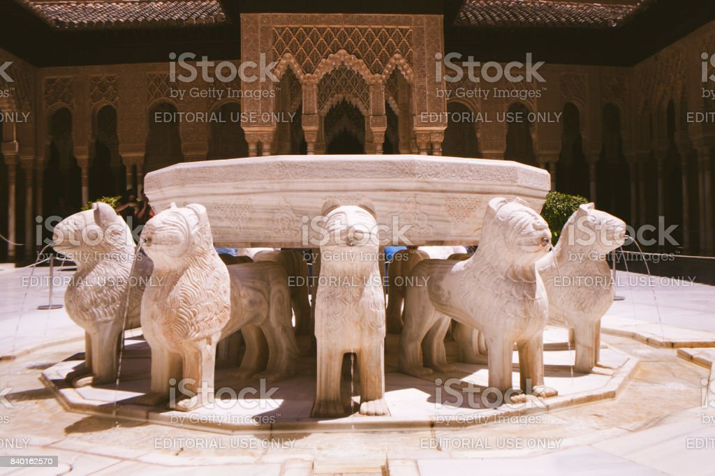 Alhambra court of lions stock photo