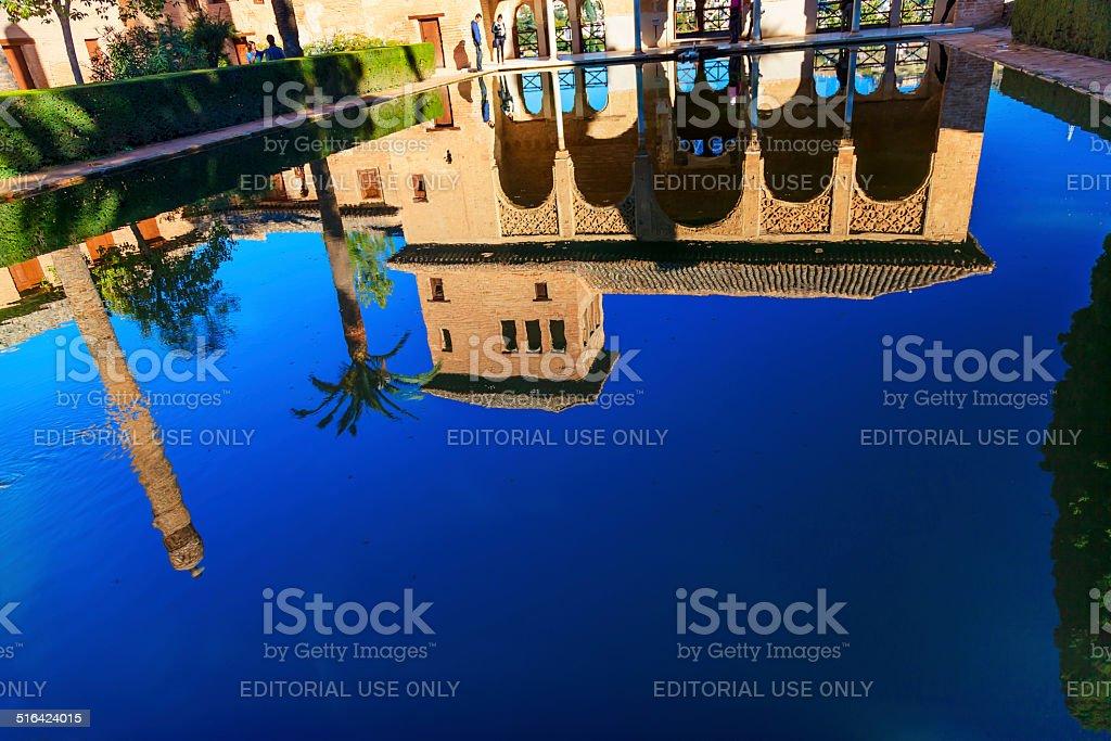 Alhambra Courtyard El Partal Pool Reflection Granada Andalusia S stock photo