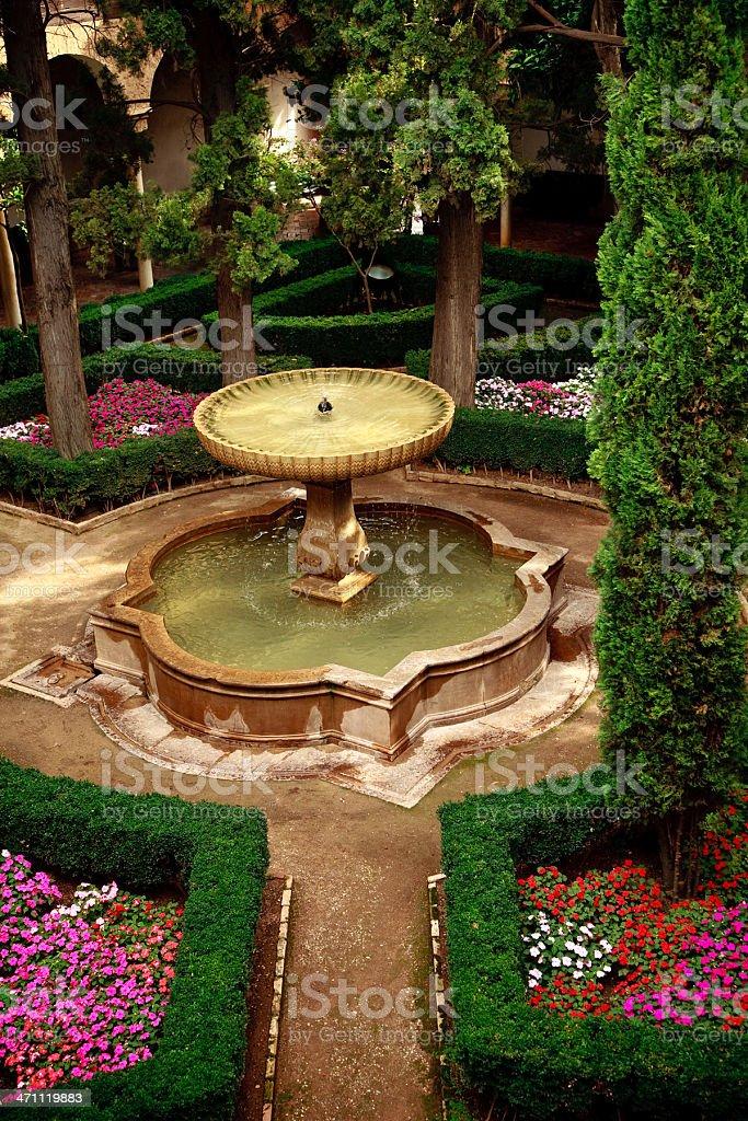 alhambra courtyard stock photo