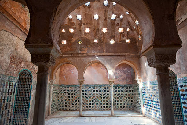 Alhambra de Granada. Arabic baths in Nasrid palaces UNESCO World Heritage Site palacios nazaries stock pictures, royalty-free photos & images