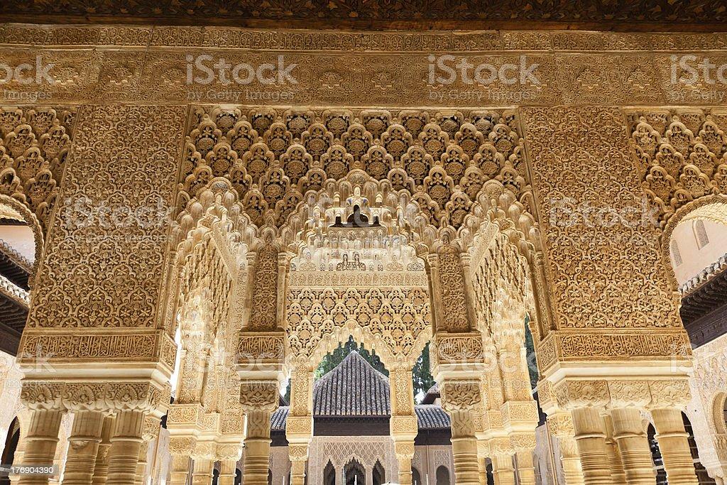 Alhambra de Granada. Court of the Lions stock photo