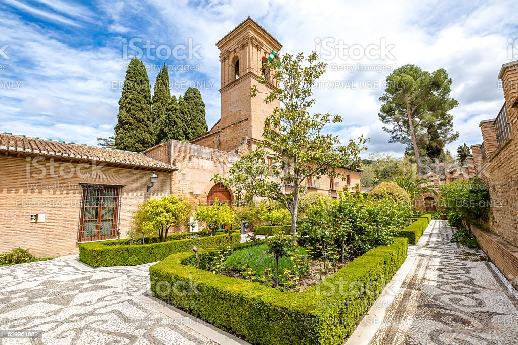 Alhambra de Granada gardens stock photo