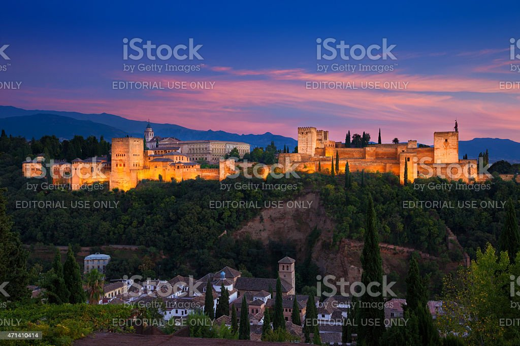 Alhambra de Granada. Great panoramic at twilight stock photo