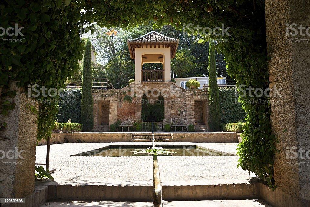 Alhambra de Granada. Pavilion in the Partal gardens royalty-free stock photo