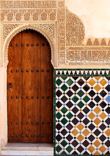 Alhambra Door Alhambra Palace's Door and Tiles palacios nazaries stock pictures, royalty-free photos & images