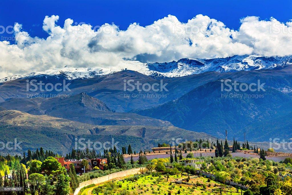 Alhambra Farm Mountains Granada Andalusia Spain stock photo