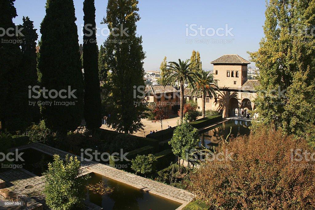 Alhambra in Granada Garten Lizenzfreies stock-foto