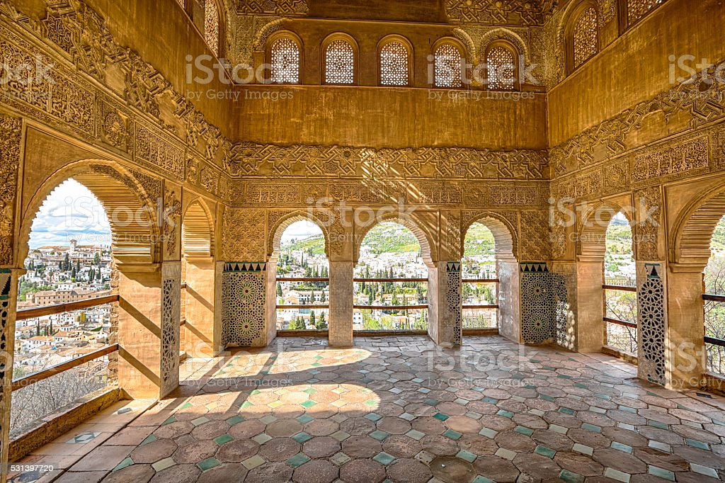 Alhambra Generalife Granada Archways in Palacio de Generalife at Alhambra di Granada,  Andalusia, Spain. This site is known as one of the most beautiful in the world and is a Unesco heritage. Andalusia Stock Photo