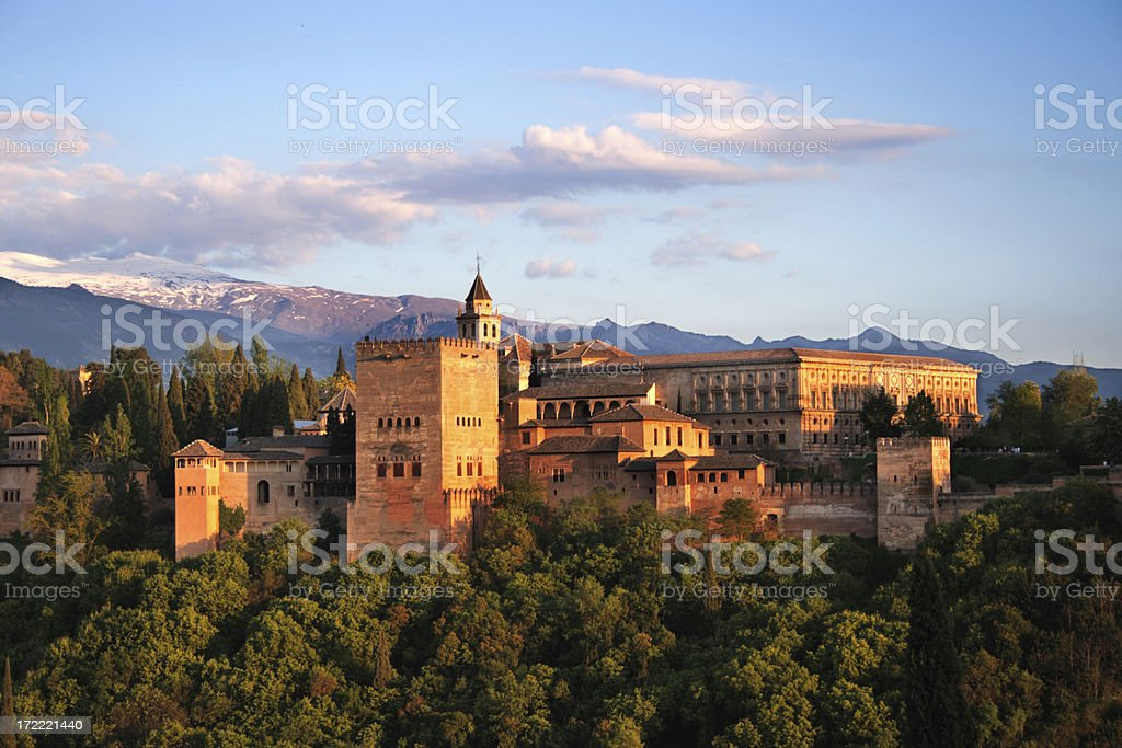 Alhambra in Granada at twilight. One the 7 New Wonders stock photo