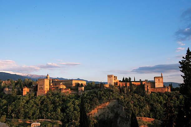 Alhambra in Granada at twilight SERIES. The 7 New Wonders stock photo
