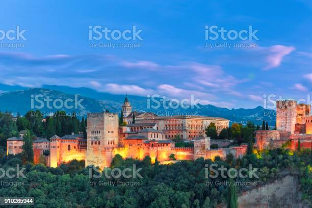 Photo of Alhambra in the evening in Granada, Andalusia, Spain