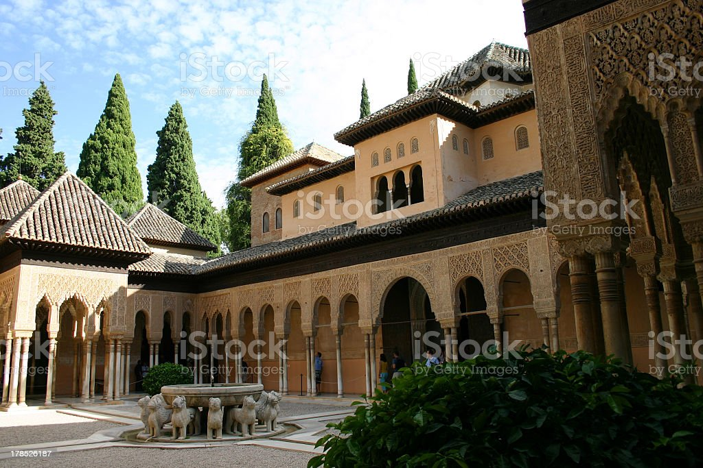 Alhambra is the name of this famous building  stock photo