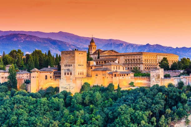 Alhambra of Granada, Spain. Alhambra of Granada, Spain. Alhambra fortress at sunset. spain stock pictures, royalty-free photos & images