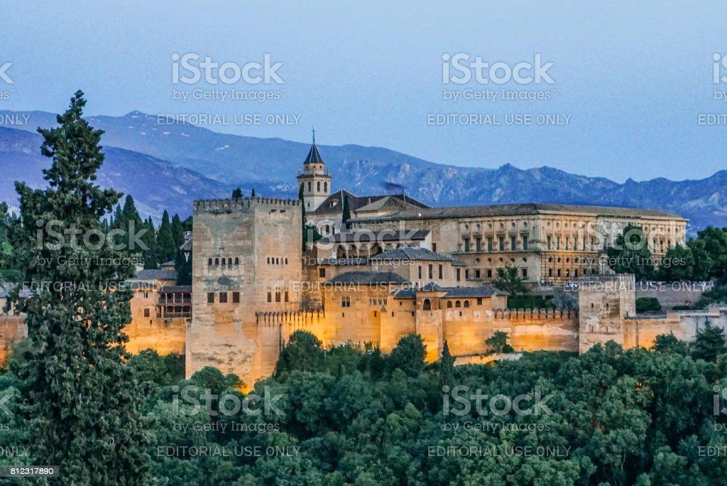 Alhambra Palace at night stock photo