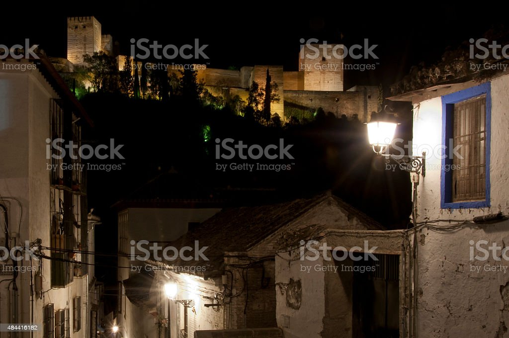 Alhambra Palace viewed from the Albayzin stock photo