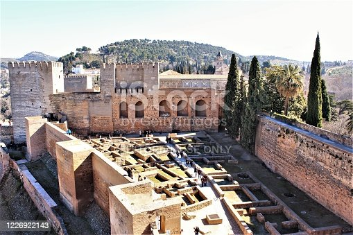 Alhambra palace,Granada/Spain  The Alhambra is a UNESCO World Heritage people visiting walk around inside the palace