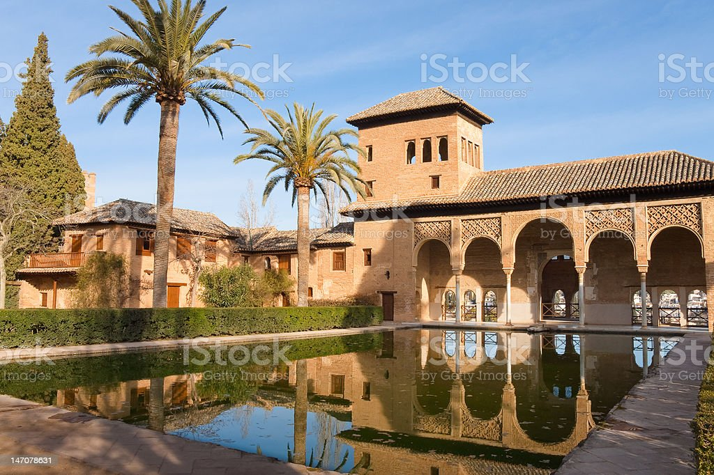 Alhambra palaces and gardens stock photo