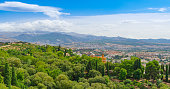 Alhambra. Panoramic views of the mountains and the old city from the observation deck of Alcazaba. Granada, Andalusia, Spain