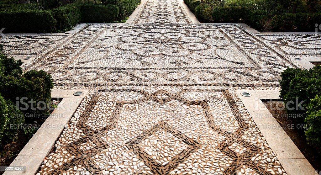 Alhambra Pebble Mosaic stock photo
