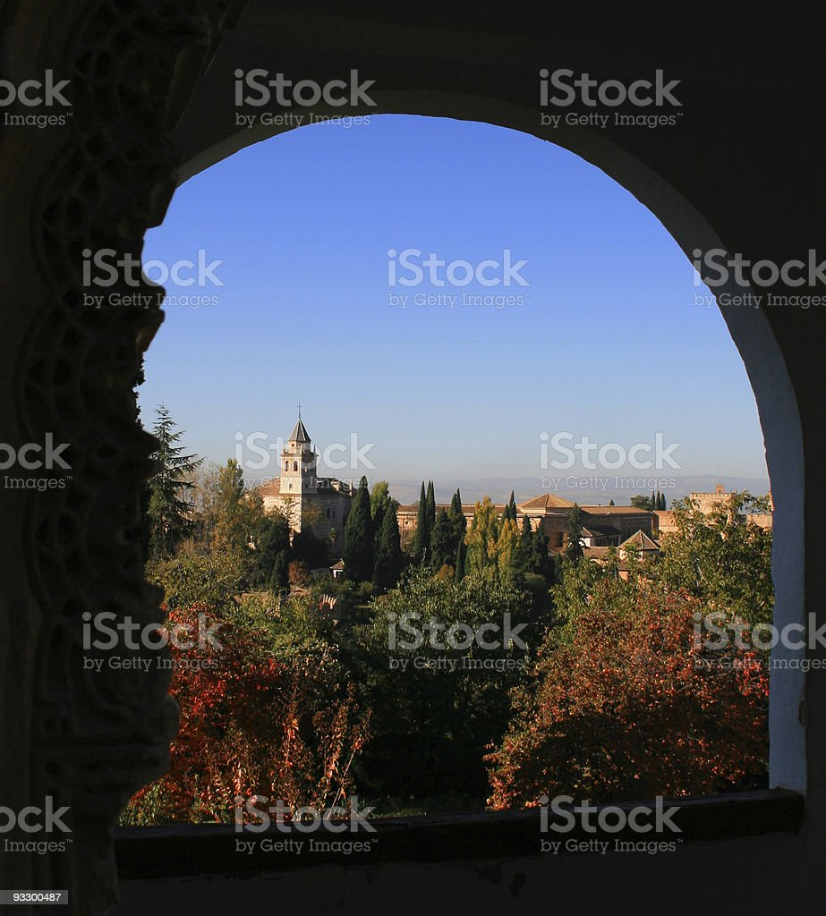 Alhambra seen from Generalife royalty-free stock photo