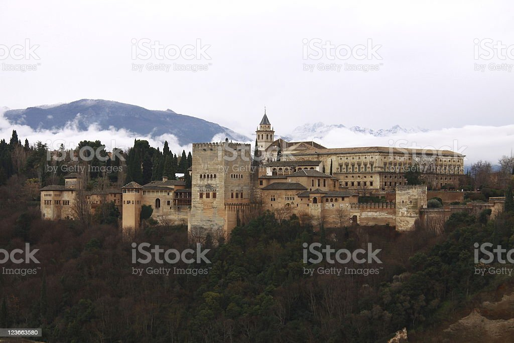 alhambra Spain in winter clothes Granada royalty-free stock photo
