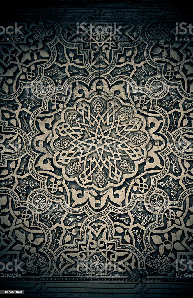 alhambra wall filigree stock photo