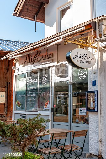 Garmisch, Germany; April 1, 2019: Ali Baba Turkish restaurant with outdoor seating in Garmisch, Germany