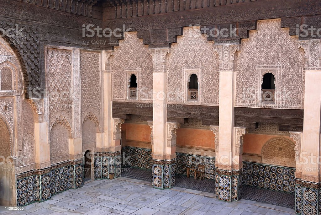 Ali Ben Youssef Madrassa in Marrakech, Morocco royalty-free stock photo