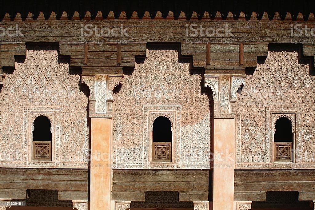 Ali Ben Youssuf Madressa facade at Marrakech. - Horizontal. royalty-free stock photo